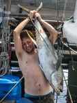 Crewmember Paul with Tuna (photo k3el